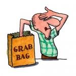 man reaching into grab bag
